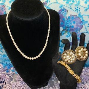 Vintage Gold Tone & Pearl Set